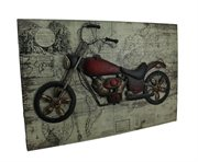 WORLD OF ADVENTURE VINTAGE V-TWIN SCULPTURE ON WOOD MAP WALL HANGING